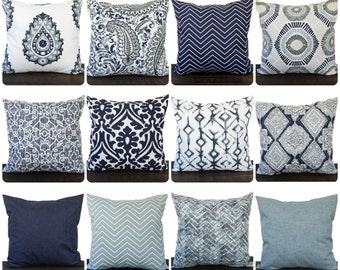 pillow throw pillow pillow cover cushion decorative pillow vintage indigo blue - Blue Decorative Pillows
