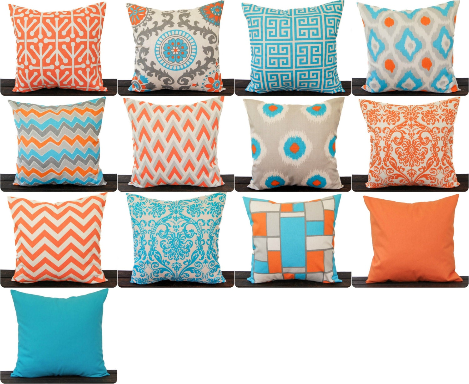 orange and aqua throw pillow cover orange aqua natural grey. Black Bedroom Furniture Sets. Home Design Ideas