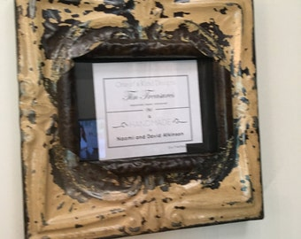 5 x 7 distressed suede/tan/flesh with metal color antique tin ceiling tile picture frame