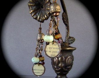 The Treasures, mixed media jewelry, assemblage earrings, vintage text, Baltic amber, torch fired enamel, ceramic beads, ooak, AnvilArtifacts