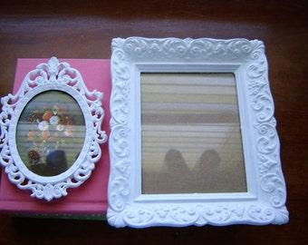 White wall frames ornate style vintage frames upcycled white 2 pc set nursery frames white decor home decor