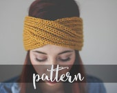 PATTERN // PDF (digitally delivered and permission to sell) Easy Knit Turban Earwarmer, Cozy Slip-on Accessory, Headband