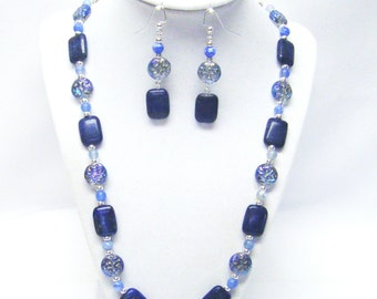 Rectangle Stone Lapis Bead Necklace & Earrings