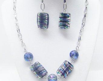 Multi Color Rectangle Swirl Glass Bead Necklace & Earrings Set