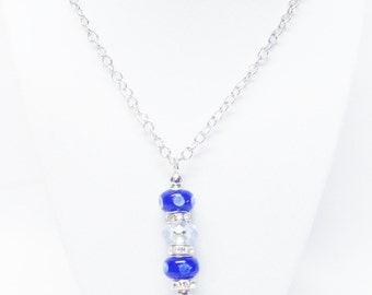 Blue Lamp Work w/Crystal Big Hole Bead Pendant Necklace