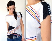 colorful sheer blouse vintage 80s oversized white shirt silk like blouse diagonal stripes rainbow graphic striped blouse hipster top tech