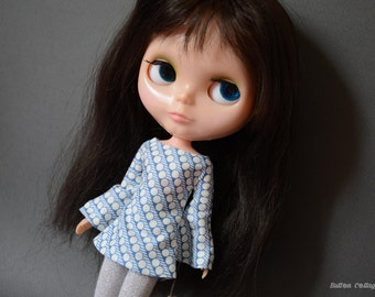 Bell sleeved circles patterned retro mod style dress for Blythe Pullip Dal licca and similar dolls