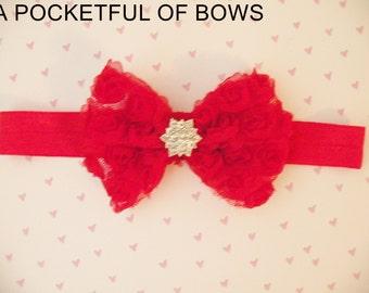 Red Girls Headband, Red Bow Headband, Toddler Headband Red, Valentine's Day Christmas Headband