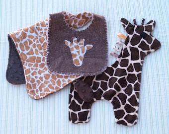 Giraffe Snugglie, Bib & Burp Cloth Gift Set