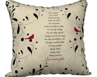 Love Never Fails, Corinthians Quote, Gift for Wife, Gift for Her, Wedding Gifts, Anniversary Gifts, Wedding Pillow, Love Pillow, Bible Quote