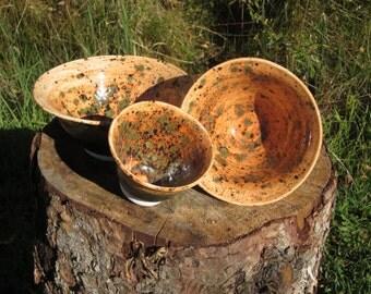 Set of 3 Green and Orange Flared Nesting Bowls