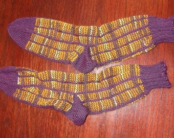 Purple and gold shades, vertical striped Socks! 100% wool hand knit, sport weight socks.