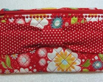 Zipper Case/Bag with Bow Detail Front (large) Zipper Clutch Zipper Pencil Case