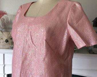 60s Pink Shimmer Zip Back Party Top