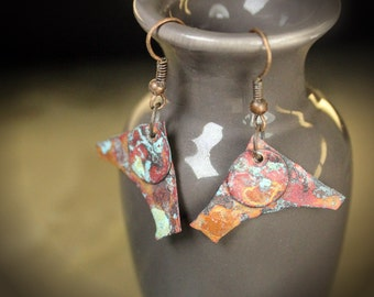 Red and Orange Patina Copper Earrings