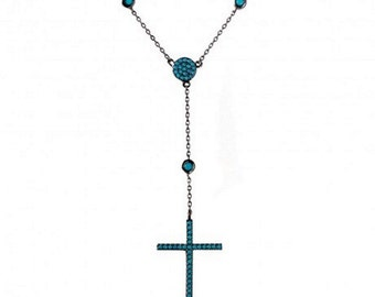 Sterling Silver Black Rhodium Plated Cross Necklace With Turquoise Stones #6