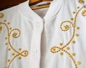 Sweatshirt Jacket in White with Gold Studs - Sweatshirt Jacket for Women - Western Wear