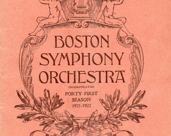 Vintge Boston Symphony Orchestra Programme 1921-22 Forty-First Season at Carnegie Hall, NYC Pierre Monteux Conductor w/Advertising Blocks