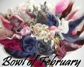 Merino Wool, Wool Locks, Pencil Roving, Silk Fibers and Yarn pieces for Spinning and Felting - February Leftover Bowl - mixed Fibers - 80g