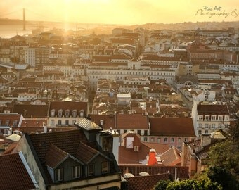 Lisbon rooftops Sunset, Portugal. Original Fine Art Street Photography. Europe cityscape