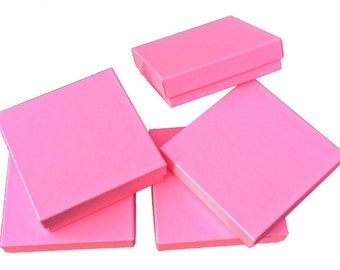 "10 Pack -3.5"" x 3.5"" x 1"" Matte Pink, Cotton-Lined Jewelry Boxes, Presentation Boxes, Solid Color Design Gift Boxes, 2 Part - Top & Bottom"
