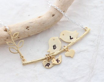 Gold Love Birds Necklace. Family Necklace, Love Bird necklace. Bird Necklace, Anniversary gift, Two tones Necklace, MonyArt Original design.