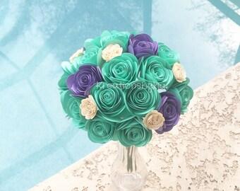 Minty - Paper Flower Bouquet//Paper Bridal Bouquet // Rosette Bouquet/ Wedding/ Paper Rosettes/ Paper Flowers/ Centerpiece