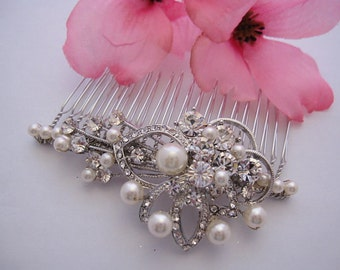 Vintage inspired Wedding hair comb pearl,Bridal hair comb Rhinestone,Wedding head piece,Bridal hair piece,Wedding hair accessories,Bridal