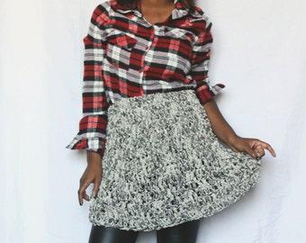 Ready To Ship! Faux, Frayed Denim Handmade Crochet Skirt!