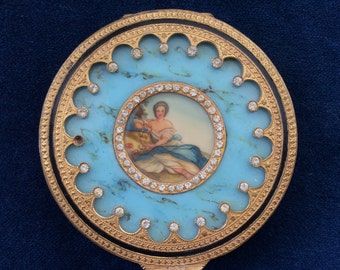 Antique Italian Gold, Bejeweled, Etched Ladies Compact with Mirror