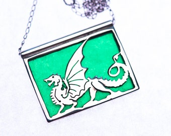 Sterling Dragon Hand Engraved on Emerald Green Glass Slide Pendant Necklace 18""