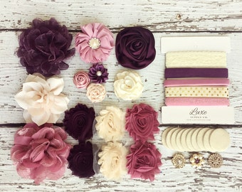 Baby Shower DIY Headband Making Kit - Berry Cordial Collection - MAKES 10 HEADBANDS! Shabby Chic Flower Headbands - Vintage Autumn Themes