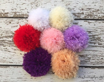 NEW! Large Frayed Chiffon Flower Puffs - You choose the color and quantity - Gorgeous Shabby Flower - Applique for DIY Headbands