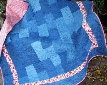Quilt - Denim and Flannel Lap Quilt - Denim Daisies Quilt