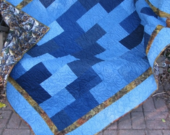 Camo and Denim Lap Quilt - Camouflage Flannel and Denim Quilt