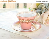 On Sale Vintage Aynsley Corset Style Pink Gold Tea Cup and Saucer,Tea Party, Ornate Pink Gold English Bone China, Pink Wedding, Signed and N
