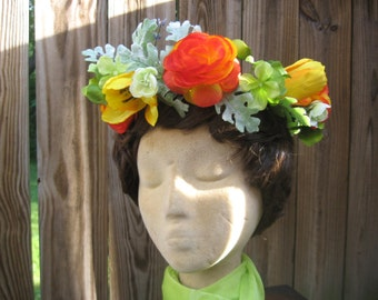 Flower Crown Boho Festival Parties Floral Hair Wreath Halo Orange and Yellow