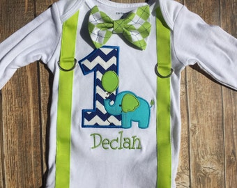 Boys first birthday elephant bodysuit with suspenders and bow tie