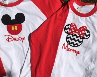 Custom disney vacation or birthday party baseball sleeve/raglan sleeves matching parent shirts