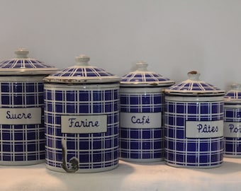 French vintage canisters, Set of five vintage canisters, French blue canister set, French enamel canister set, French enamel, French kitchen