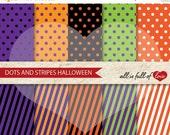 80% off HALLOWEEN Digital Paper Pack Polka DOTS STRIPES Pattern Scrapbooking 12/15
