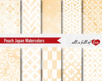 Peach Watercolor Digital Paper Pack Personal & Commercial Use Wedding Stationery Japanese Paper Peach Background Gift Wrapping Paper