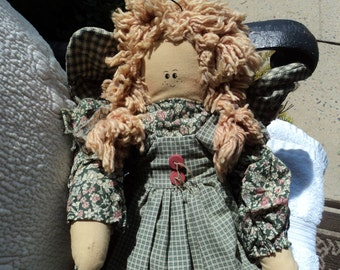 Rag doll soft sculpture angel/ lovely green floral dress with gingham apron/yarn hair in lovely pigtails/