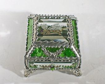 Dragonfly Glass Jewelry Box -  Faberge Style