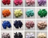 3 inch Ribbon Bows clips plain bows rainbow of colors bows