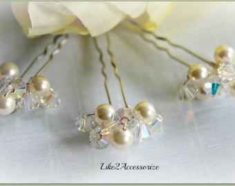 Wedding Hair Accessories Bridal Hair Pin Crystal Swarovski Pearls Ivory Rose Gold Pearl Hair Pins Bridal Pearl Hair Pin Hand Wired Hair Clip