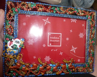 Pewter Picture Frame - Christmas Santa theme - hand painted and embellished - artist signed PRICE REDUCED!