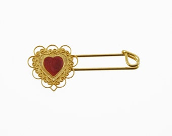 Gold Heart Safety Pin - Gold Safety Pin - Vintage Safety Pin