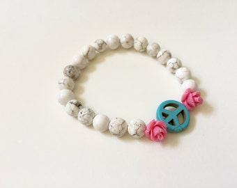 Make Love, Not War!  Peace Sign and Roses Stretch Bracelet
