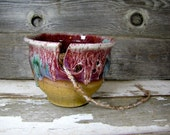 red Ceramic Yarn Bowl Knitting bowl, Crochet Bowl  Red bowl , bright knitter gift, Yarn supplies ready to ship